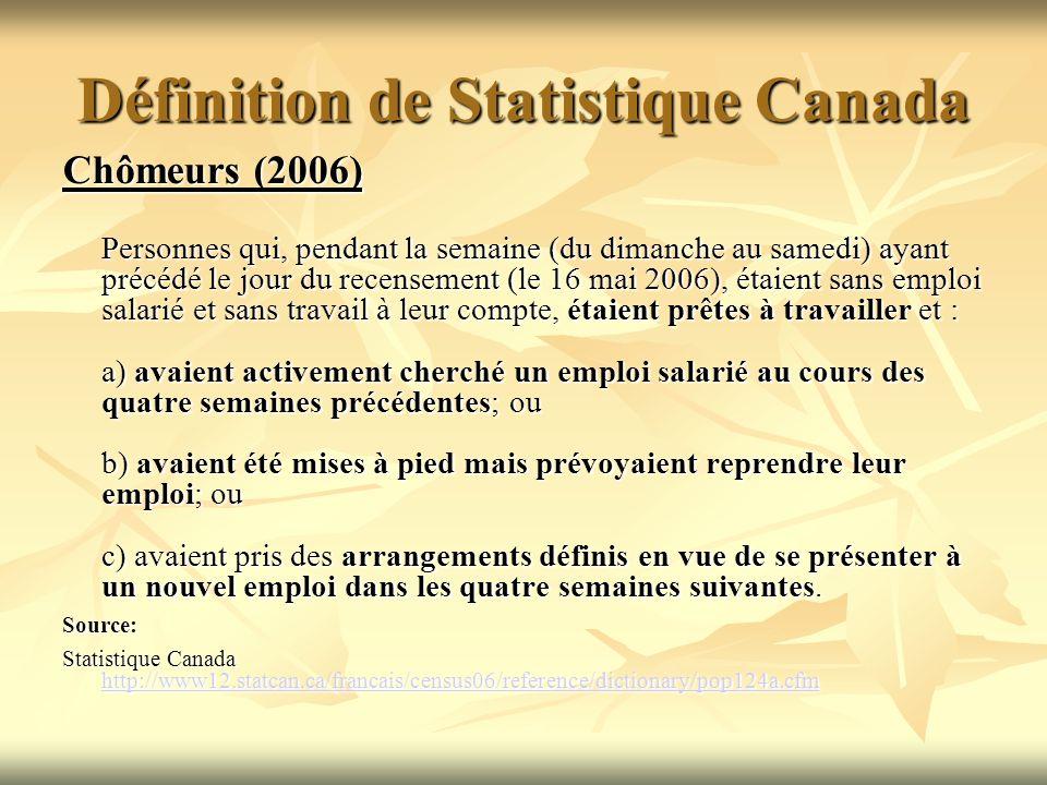 Définition de Statistique Canada