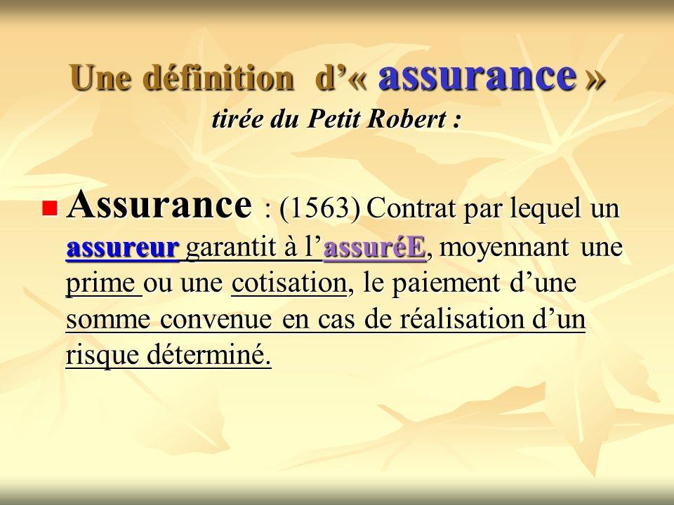 Une définition d'« assurance » tirée du Petit Robert :