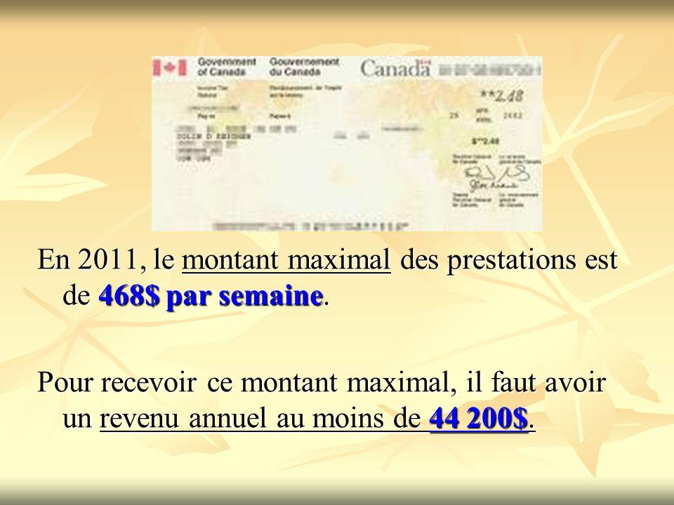 En 2011, le montant maximal des prestations est de 468$ par semaine.
