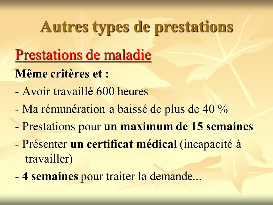 Autres types de prestations