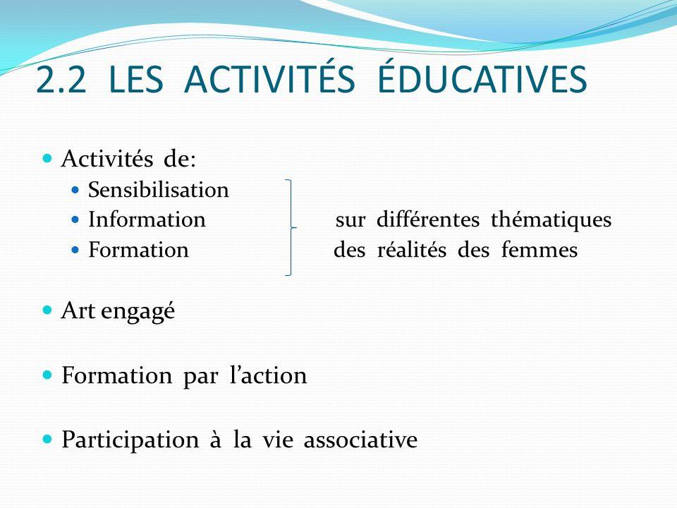 2.2 LES ACTIVITÉS ÉDUCATIVES