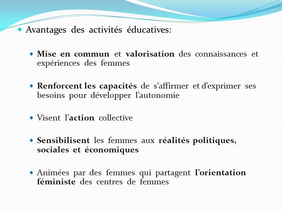 Avantages des activités éducatives: