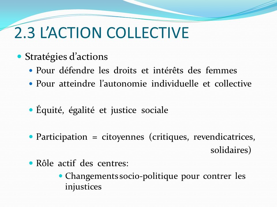 2.3 L'ACTION COLLECTIVE Stratégies d'actions