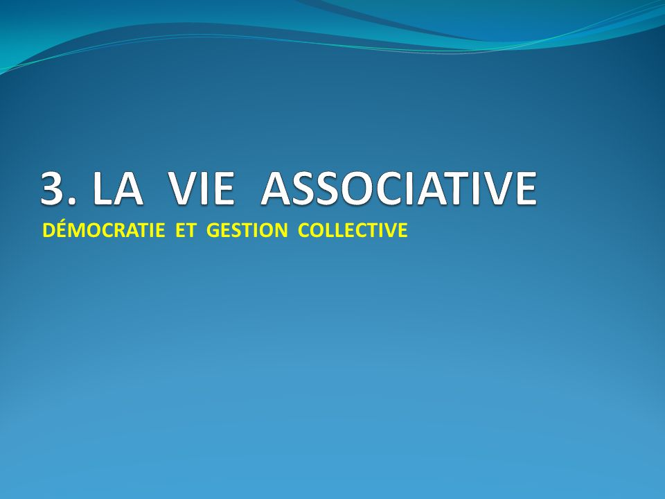 3. LA VIE ASSOCIATIVE DÉMOCRATIE ET GESTION COLLECTIVE