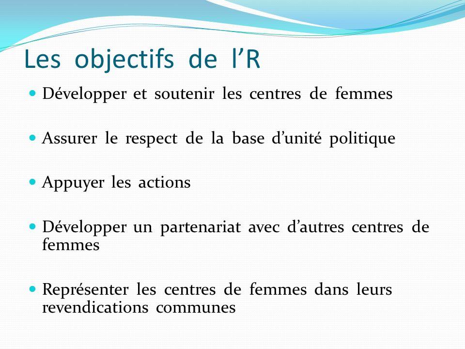 Les objectifs de l'R Développer et soutenir les centres de femmes