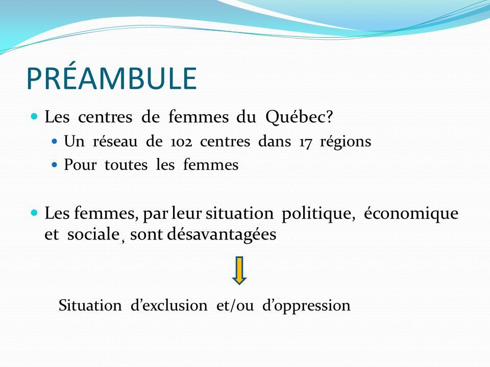 PRÉAMBULE Les centres de femmes du Québec
