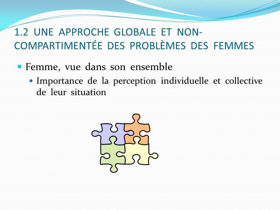 1.2 UNE APPROCHE GLOBALE ET NON-COMPARTIMENTÉE DES PROBLÈMES DES FEMMES
