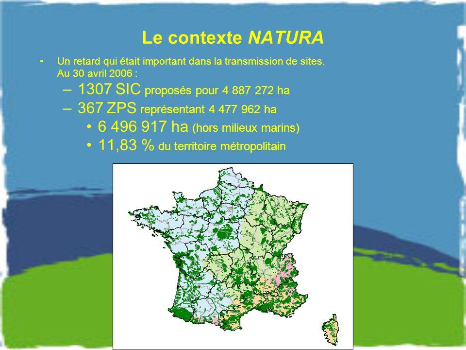 Le contexte NATURA 1307 SIC proposés pour 4 887 272 ha