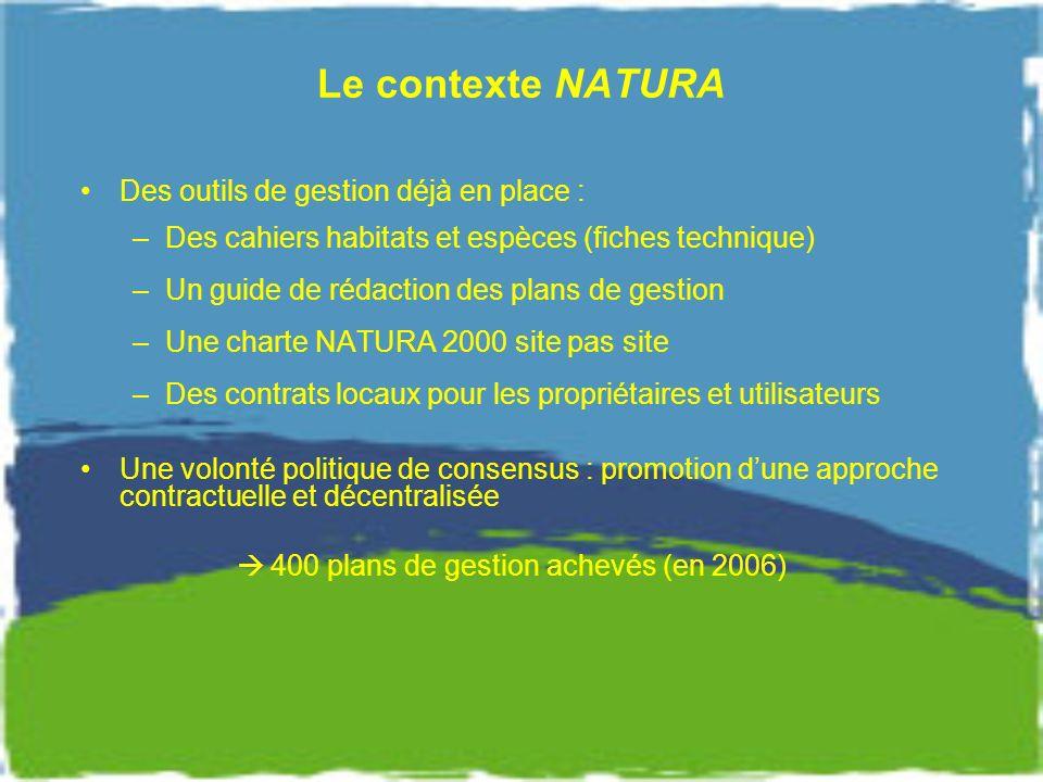 Le contexte NATURA Des outils de gestion déjà en place :