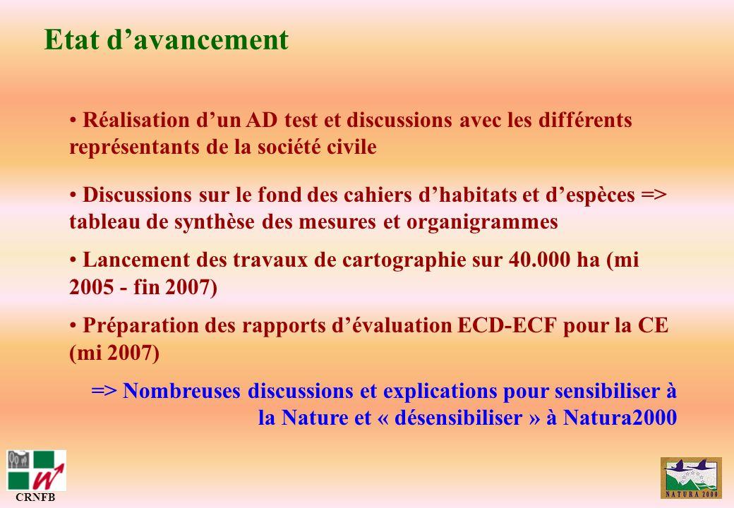 Etat d'avancementRéalisation d'un AD test et discussions avec les différents représentants de la société civile.
