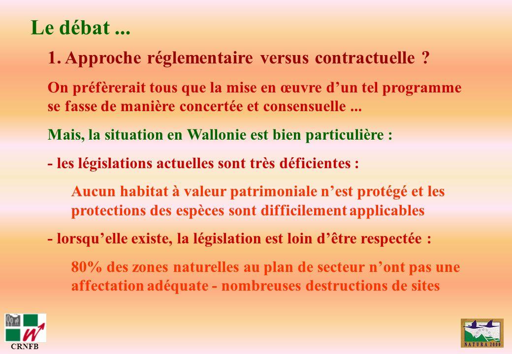 Le débat ... 1. Approche réglementaire versus contractuelle