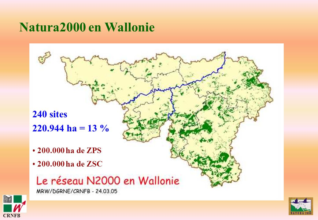 Natura2000 en Wallonie 240 sites 220.944 ha = 13 % 200.000 ha de ZPS