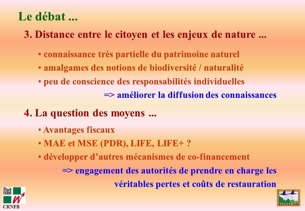 Le débat ... 3. Distance entre le citoyen et les enjeux de nature ...