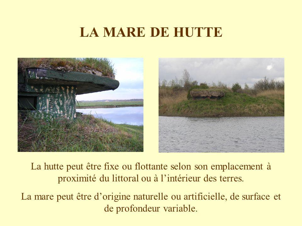 LA MARE DE HUTTE La hutte peut être fixe ou flottante selon son emplacement à proximité du littoral ou à l'intérieur des terres.