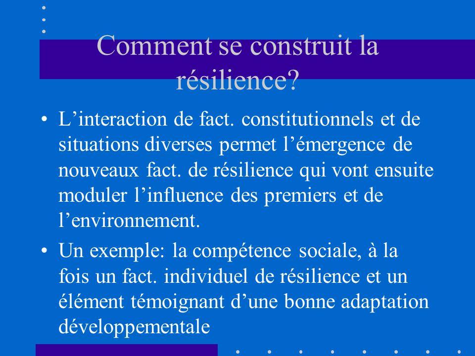 Comment se construit la résilience