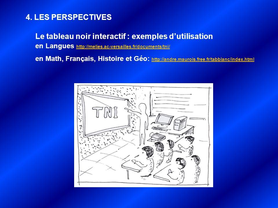 4. LES PERSPECTIVES Le tableau noir interactif : exemples d'utilisation en Langues http://melies.ac-versailles.fr/documents/tni/