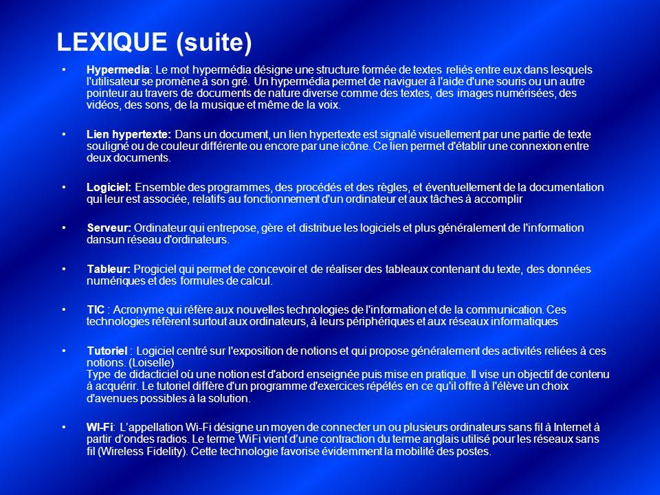LEXIQUE (suite)