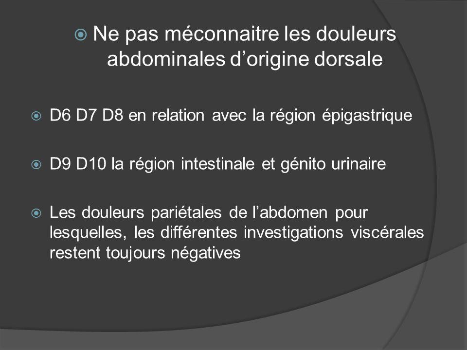 Ne pas méconnaitre les douleurs abdominales d'origine dorsale