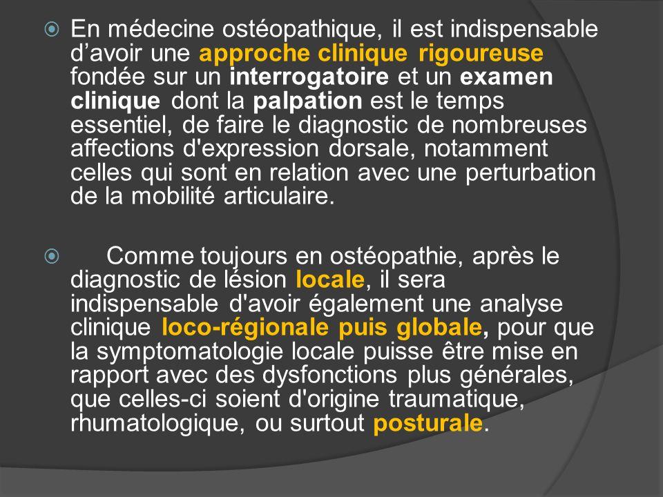 En médecine ostéopathique, il est indispensable d'avoir une approche clinique rigoureuse fondée sur un interrogatoire et un examen clinique dont la palpation est le temps essentiel, de faire le diagnostic de nombreuses affections d expression dorsale, notamment celles qui sont en relation avec une perturbation de la mobilité articulaire.