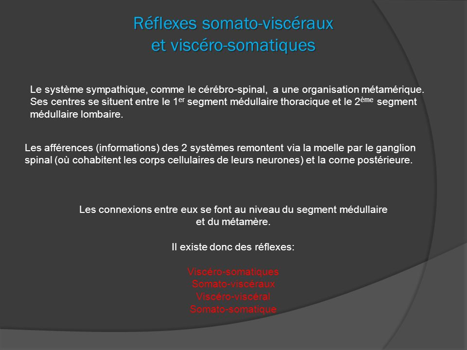 Réflexes somato-viscéraux et viscéro-somatiques