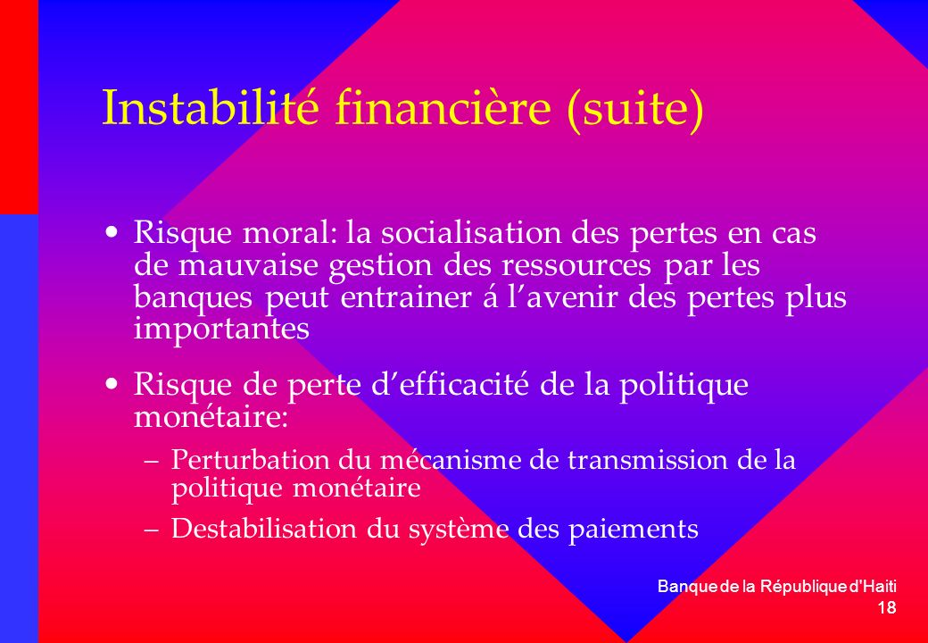 Instabilité financière (suite)