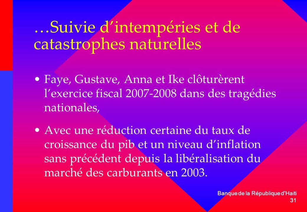 …Suivie d'intempéries et de catastrophes naturelles