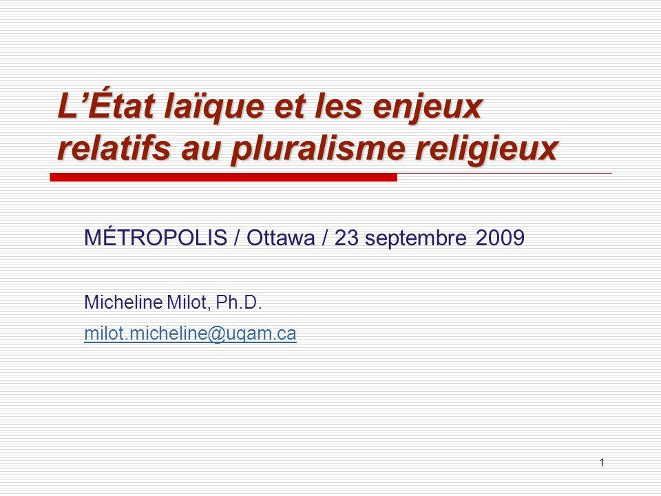 L'État laïque et les enjeux relatifs au pluralisme religieux