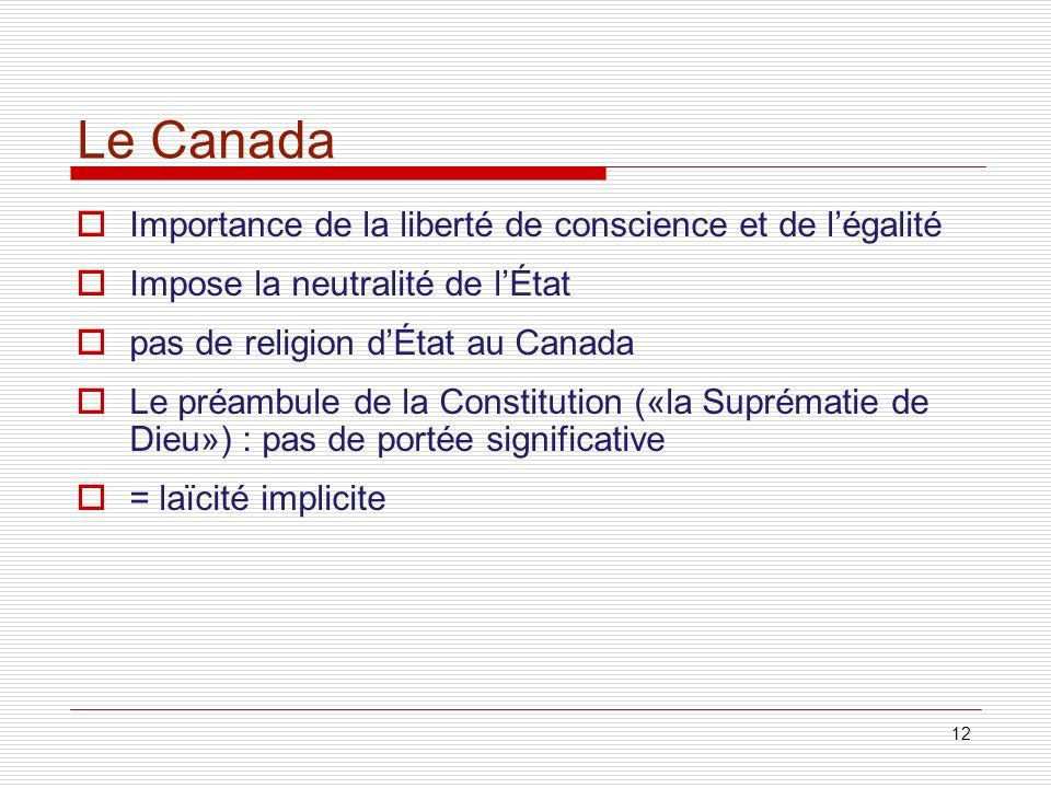 Le Canada Importance de la liberté de conscience et de l'égalité