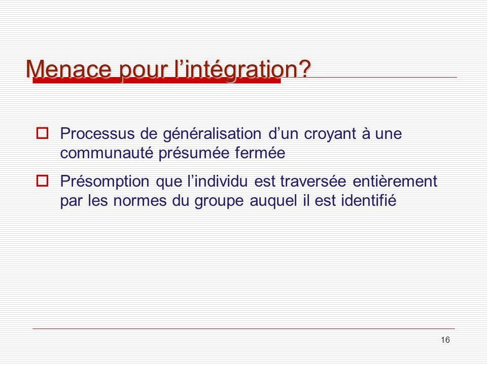 Menace pour l'intégration