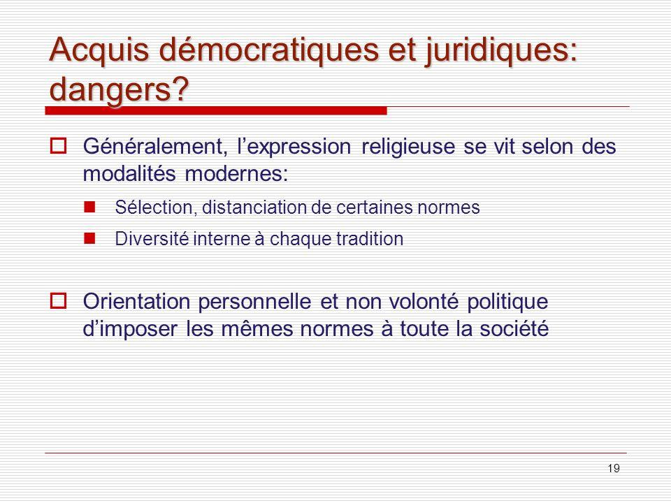 Acquis démocratiques et juridiques: dangers