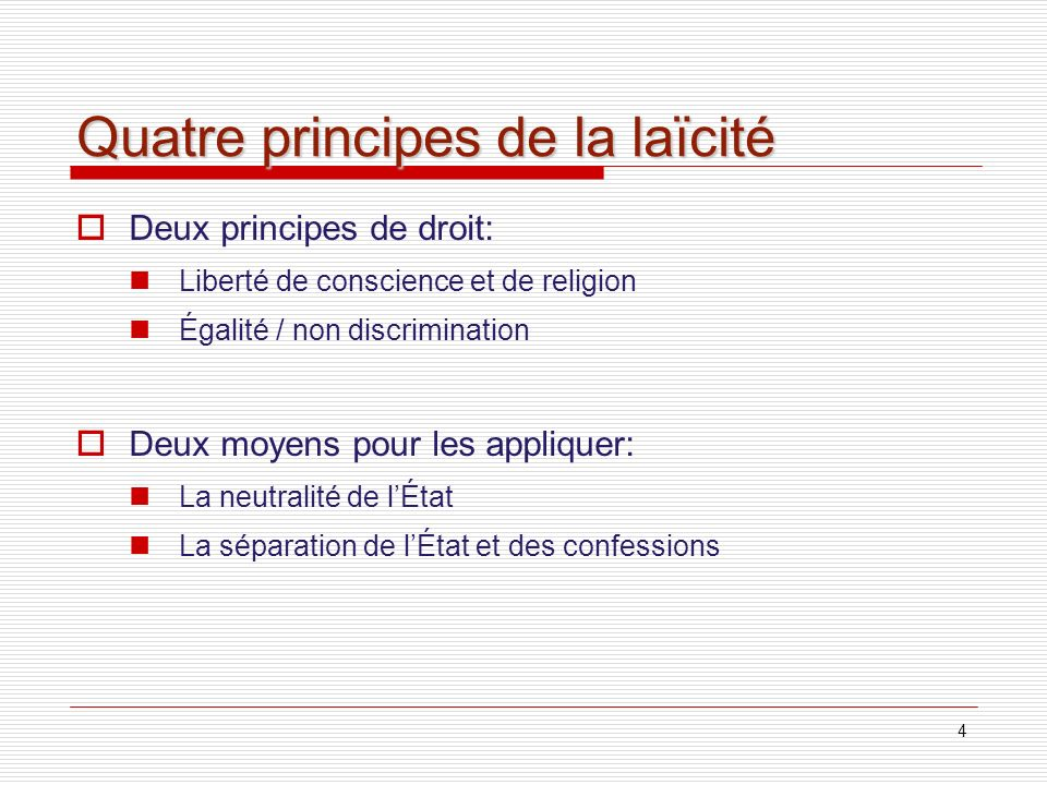 Quatre principes de la laïcité
