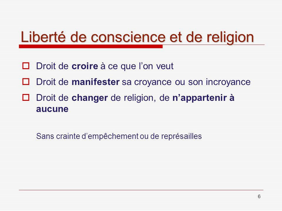 Liberté de conscience et de religion