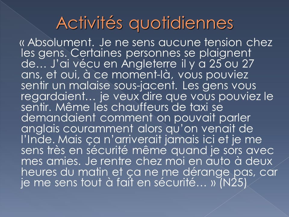 Activités quotidiennes