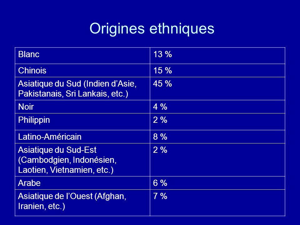 Origines ethniques Blanc 13 % Chinois 15 %