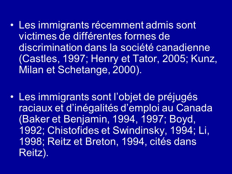 Les immigrants récemment admis sont victimes de différentes formes de discrimination dans la société canadienne (Castles, 1997; Henry et Tator, 2005; Kunz, Milan et Schetange, 2000).