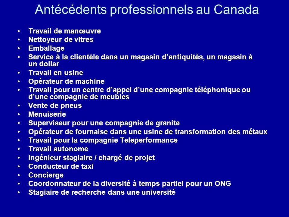 Antécédents professionnels au Canada