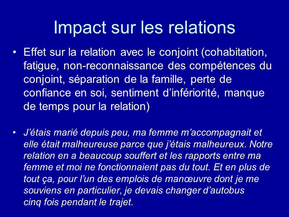 Impact sur les relations