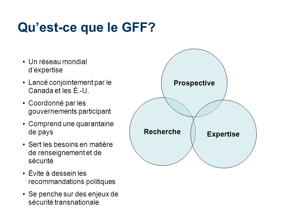 Qu'est-ce que le GFF Prospective Recherche Expertise