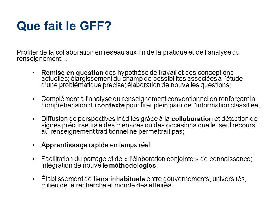 Que fait le GFF Profiter de la collaboration en réseau aux fin de la pratique et de l'analyse du renseignement…
