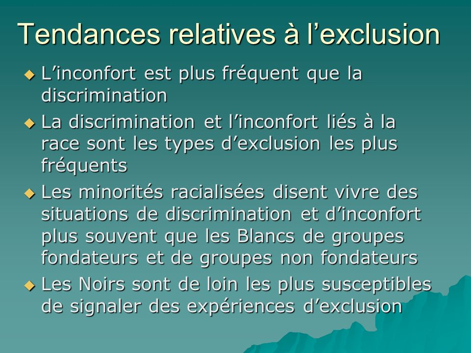 Tendances relatives à l'exclusion