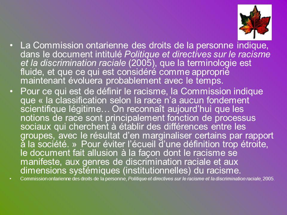 La Commission ontarienne des droits de la personne indique, dans le document intitulé Politique et directives sur le racisme et la discrimination raciale (2005), que la terminologie est fluide, et que ce qui est considéré comme approprié maintenant évoluera probablement avec le temps.
