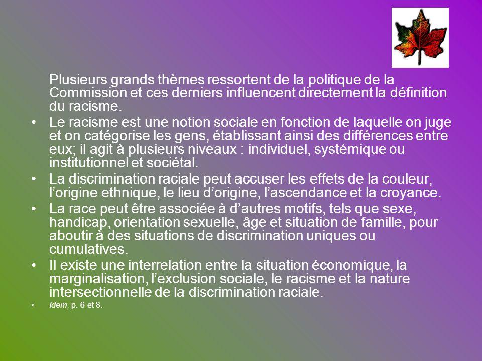 Plusieurs grands thèmes ressortent de la politique de la Commission et ces derniers influencent directement la définition du racisme.