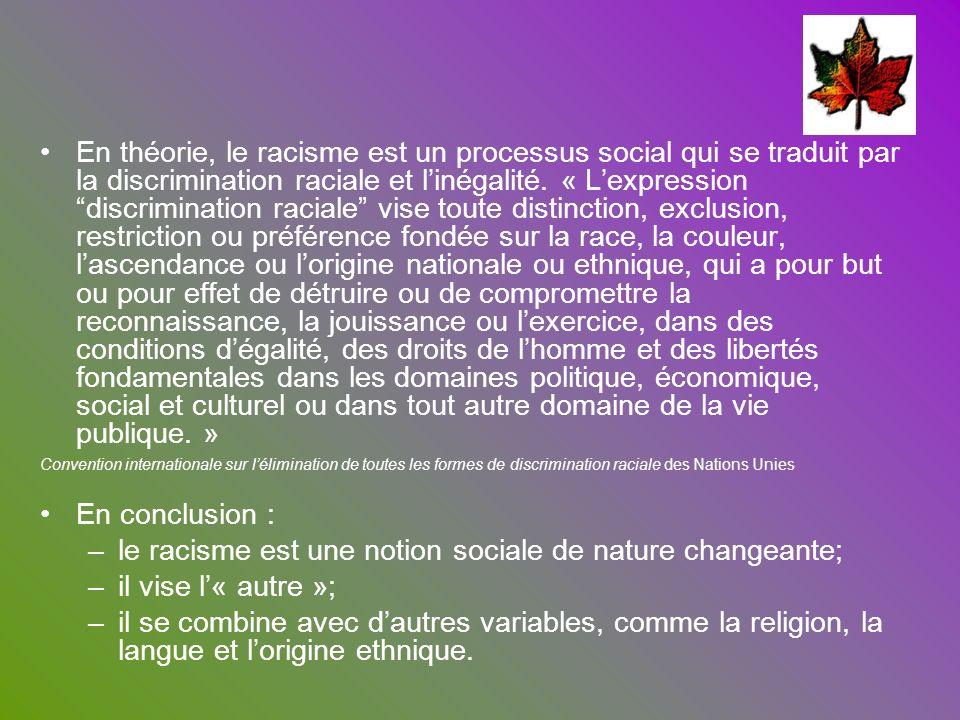 le racisme est une notion sociale de nature changeante;