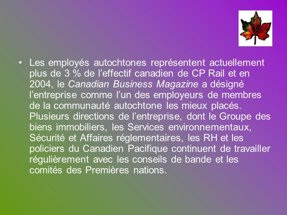 Les employés autochtones représentent actuellement plus de 3 % de l'effectif canadien de CP Rail et en 2004, le Canadian Business Magazine a désigné l'entreprise comme l'un des employeurs de membres de la communauté autochtone les mieux placés.