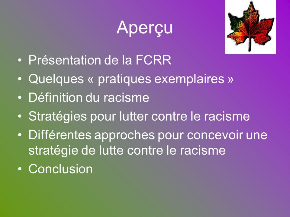 Aperçu Présentation de la FCRR Quelques « pratiques exemplaires »