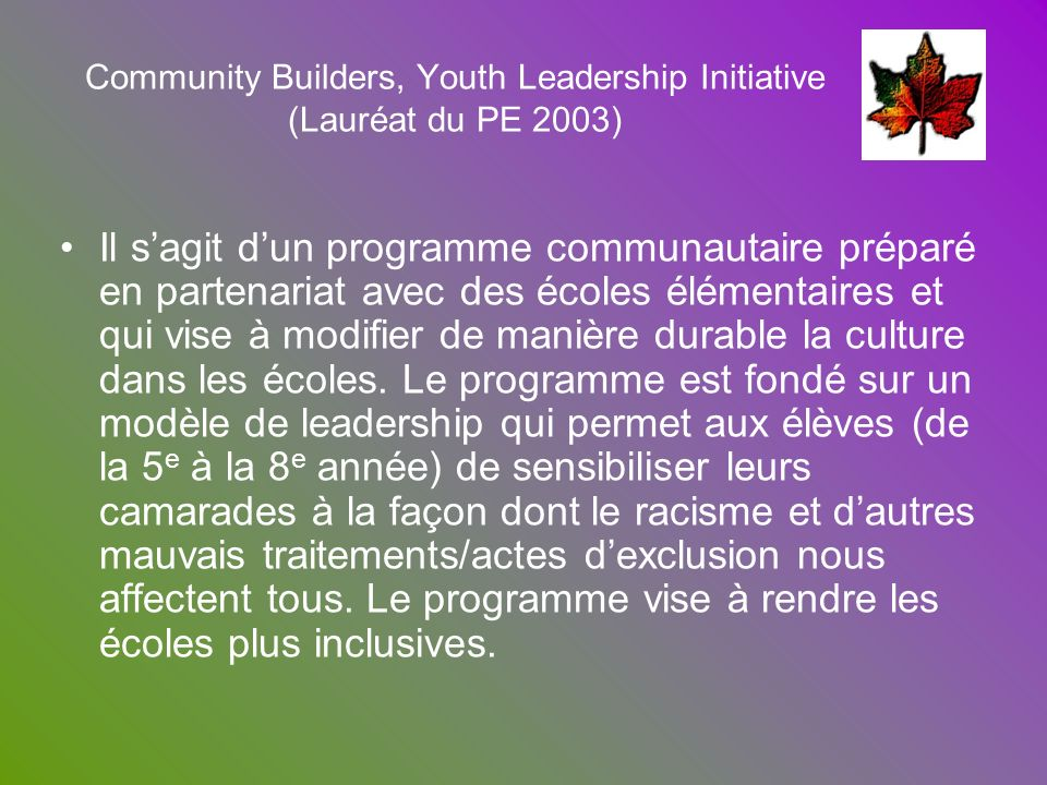 Community Builders, Youth Leadership Initiative (Lauréat du PE 2003)