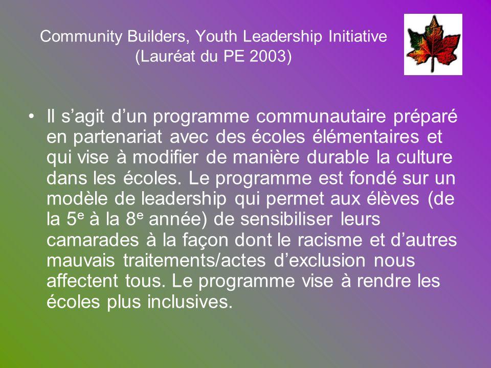 Community Builders, Youth Leadership Initiative (Lauréat du PE 2003)