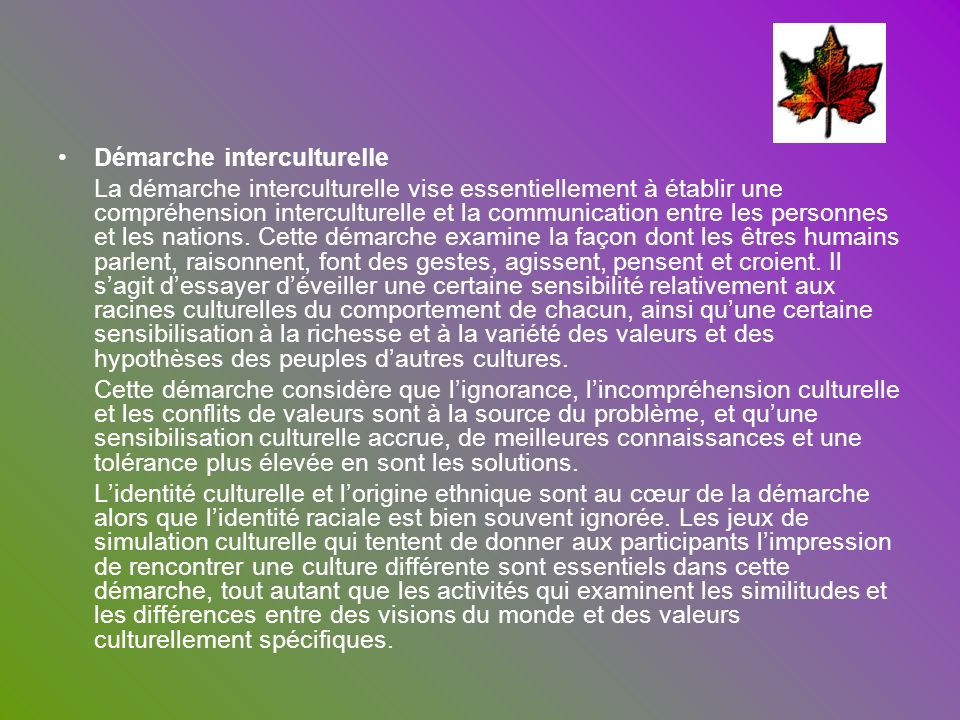 Démarche interculturelle