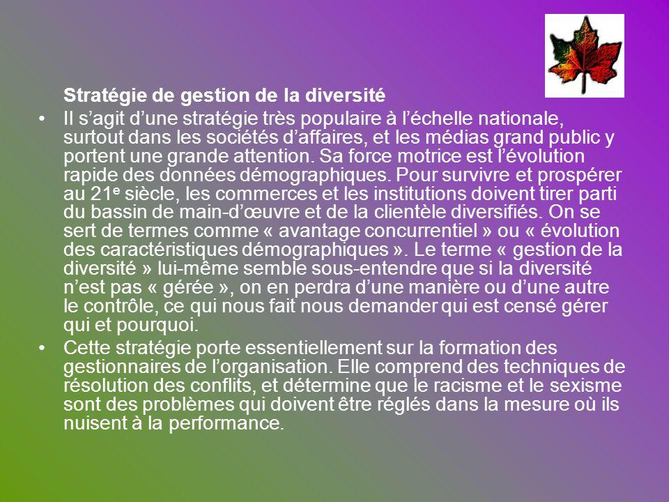 Stratégie de gestion de la diversité