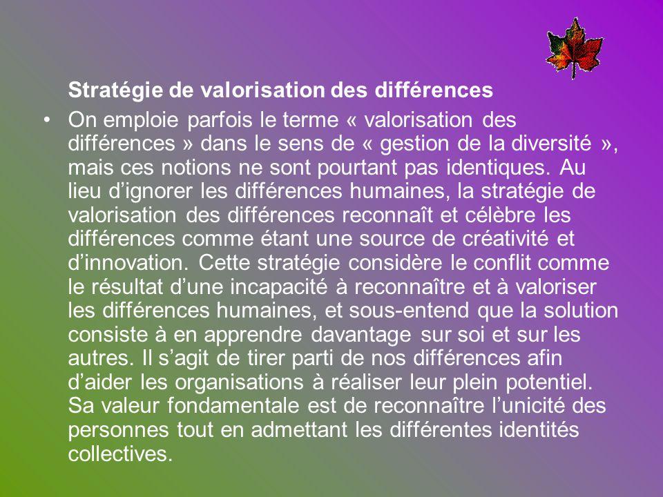 Stratégie de valorisation des différences